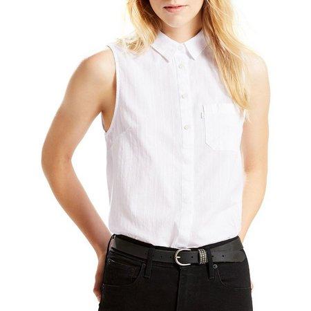 New! Levi's Womens Sleeveless Denim Joni Shirt