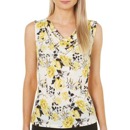Nue Options Womens Floral Print Cowl Neck Top