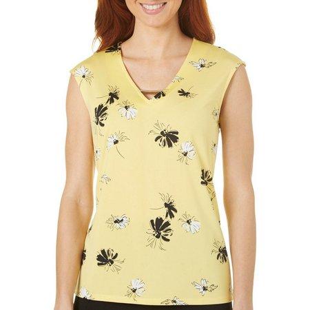 Nue Options Womens Daisy Floral Print Notch Neck
