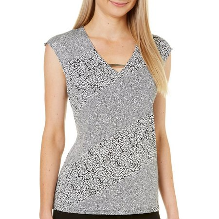 Nue Options Womens Floral Panel Print V-Neck Top