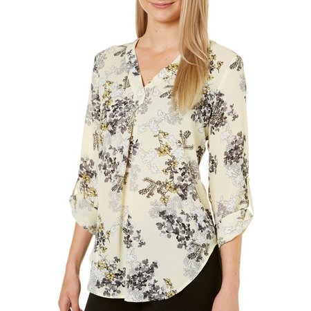 Nue Options Womens Roll Tab Garden Print Top