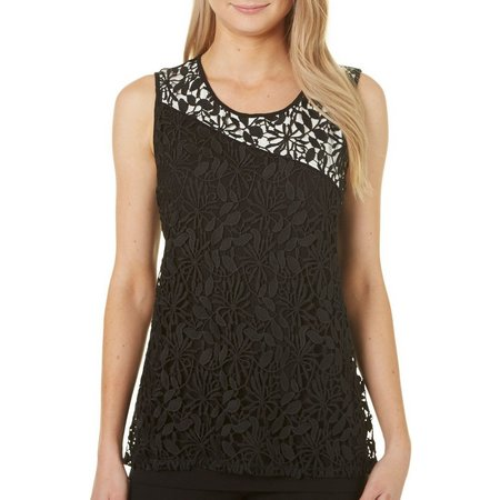 Nue Option Womens Crochet Lace Colorblock Tank Top
