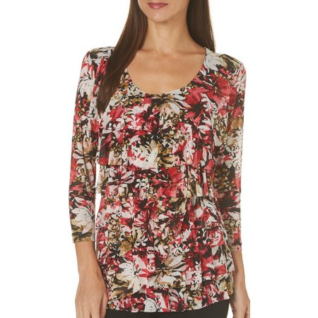 Nue Options Womens Floral Garden Tiered Top