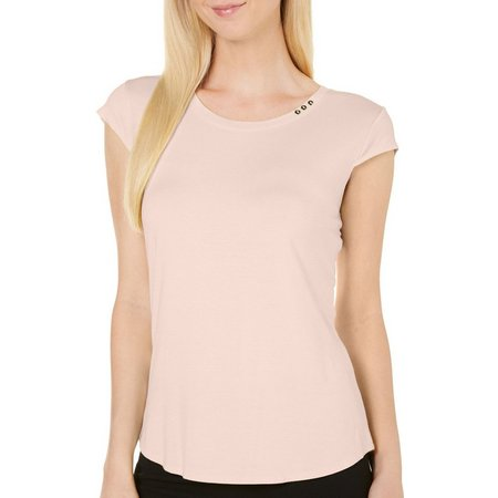 Nue Options Womens Solid Button Accent Top