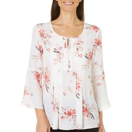 Nue Options Womens Garden Printed High-Low Top