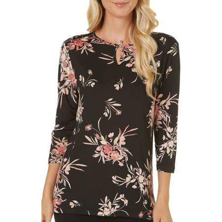 Nue Options Womens Keyhole Back Floral Print Top