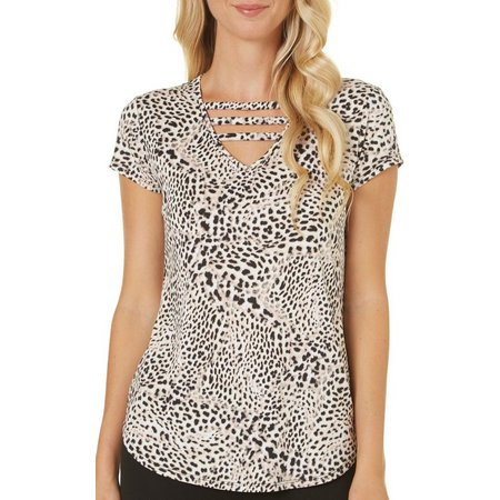Nue Options Womens Animal Print Ladder V- Neck