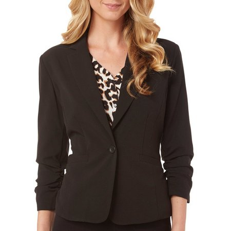 Nue Options Womens Ruched Sleeve Blazer