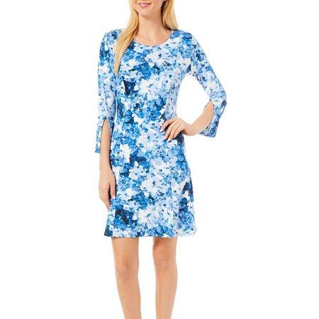 Nue Options Womens Floral Print Split Sleeve Dress