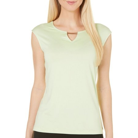 Nue Options Womens Perth Cap Sleeve Keyhole Top