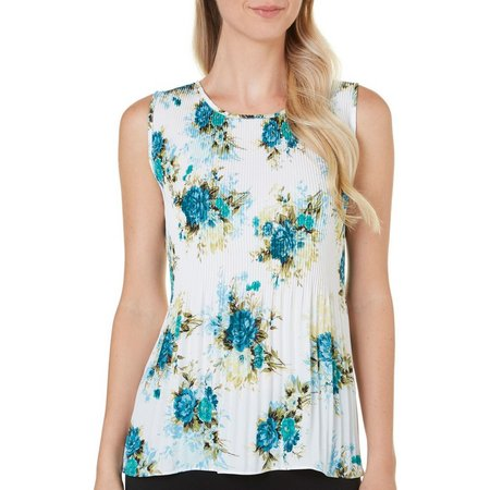 Nue Options Womens Baracoa Floral Pleated Tank Top