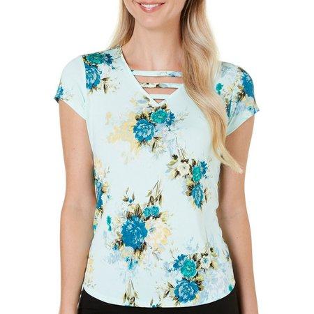 Nue Options Womens Baracoa Floral V-Neck Top