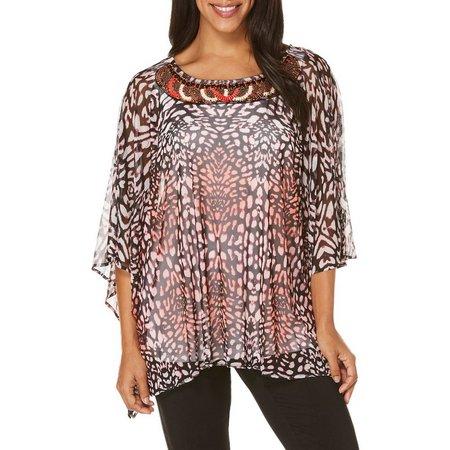 Rafaella Womens Embellished Animal Mesh Top