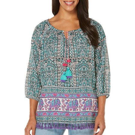 Rafaella Womens Boho Print Peasant Top