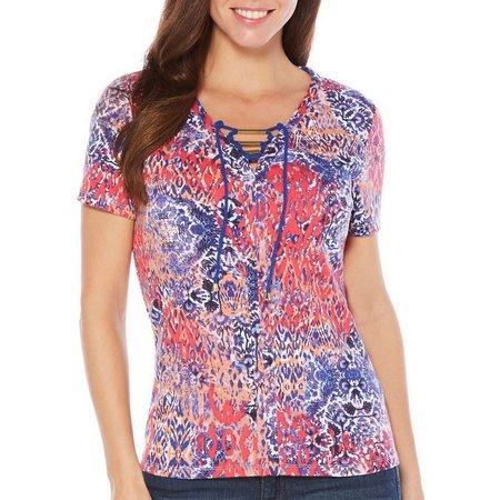 New! Rafaella Womens Lace-Up Print Mix Top
