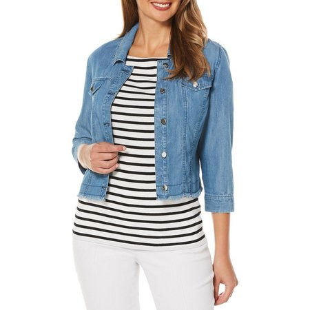 Rafaella Womens Crop Tencel Denim Jacket
