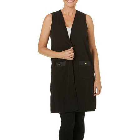 Rafaella Womens Sleeveless Long Open Front Vest