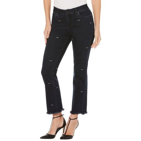 Rafaella Womens Embroidered Bee Jeans