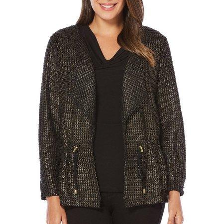 Rafaella Womens Foil Mesh Open Front Jacket