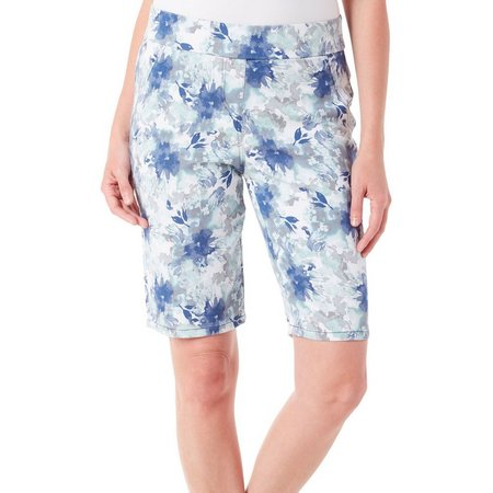 Coral Bay Womens Floral Print Stretch Shorts
