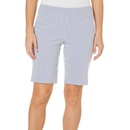 Coral Bay Womens Vertical Stripes Bermuda Shorts