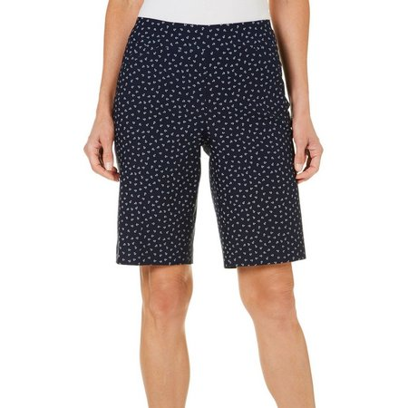 Coral Bay Womens Millennium Anchor Printed Bermuda Shorts