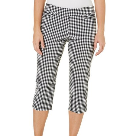 Coral Bay Womens Gingham Plaid Slimming Solution Capris