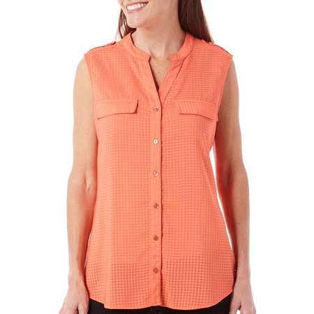 Coral Bay Womens Solid Windowpane Button Front Top