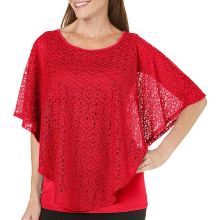 Coral Bay Womens Solid Floral Laceover Poncho