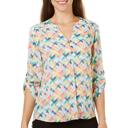 Coral Bay Womens All Over Geometric Print Top