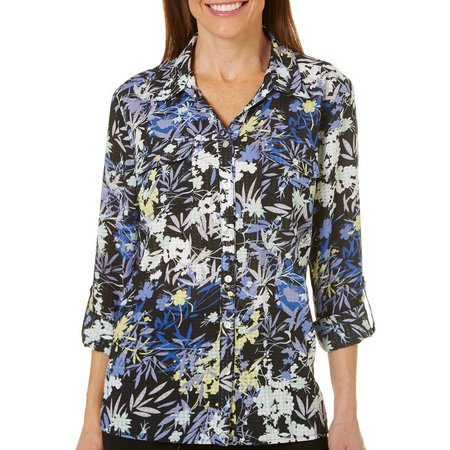 Coral Bay Womens Windowpane Floral Top