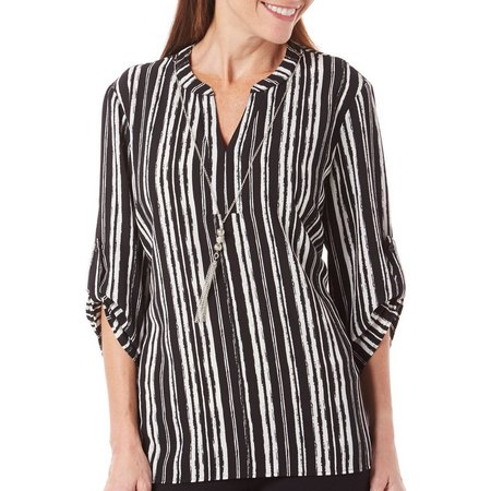 Coral Bay Womens Striped High-Low Woven Top