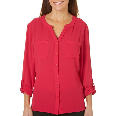 Coral Bay Womens Button Front Solid Top