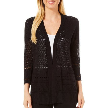Coral Bay Womens Open Front Pointelle Cardigan