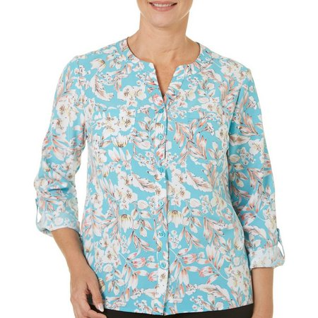 Coral Bay Womens Floral Print Turquoise Button Front