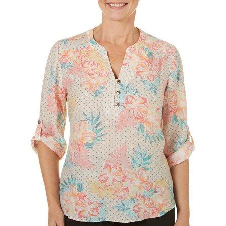Coral Bay Womens Floral Dot Print Top