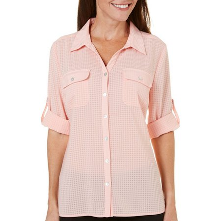 Coral Bay Womens St Augustine Windowpane Woven Top