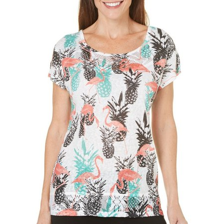 Coral Bay Womens Flamingo Pineapple High-Low Top