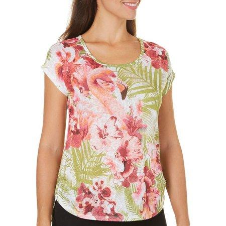 Coral Bay Womens Flamingo Print Slub Top