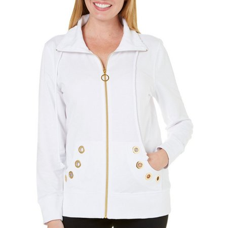 Coral Bay Womens French Terry Grommet Jacket