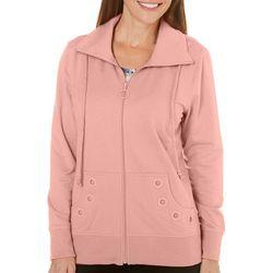 Coral Bay Womens Solid Zip Up Grommet Jacket