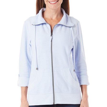 Coral Bay Womens Solid Zipper Jacket