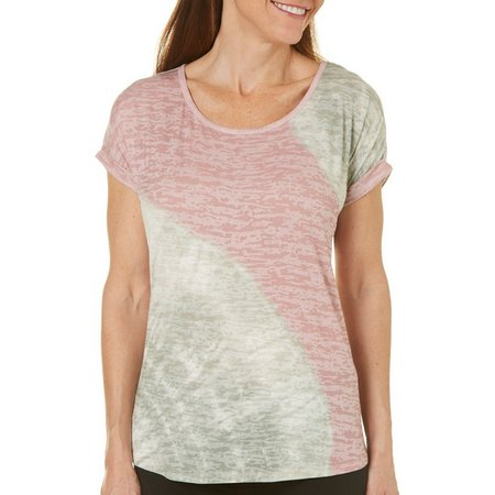 Coral Bay Womens Tie Dye Burnout High-Low Top