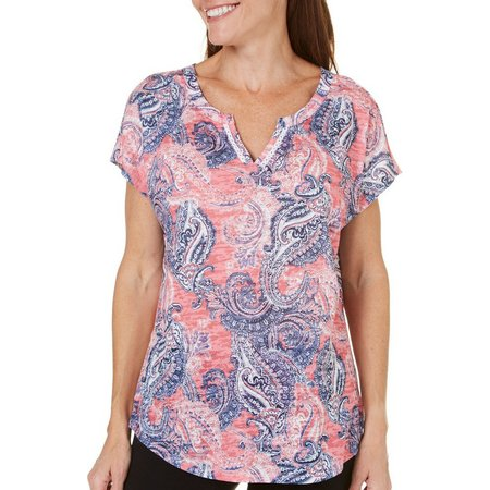 Coral Bay Womens Paisley Split Neck Top