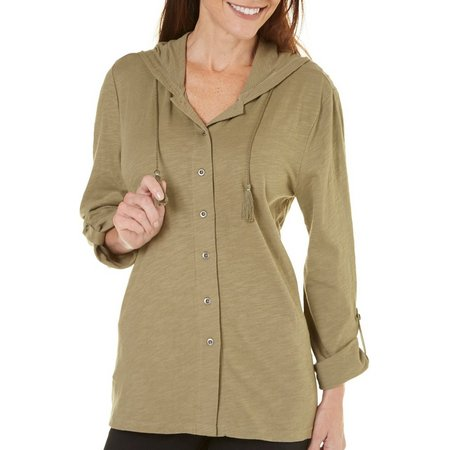 Coral Bay Womens Solid Button Front Jacket