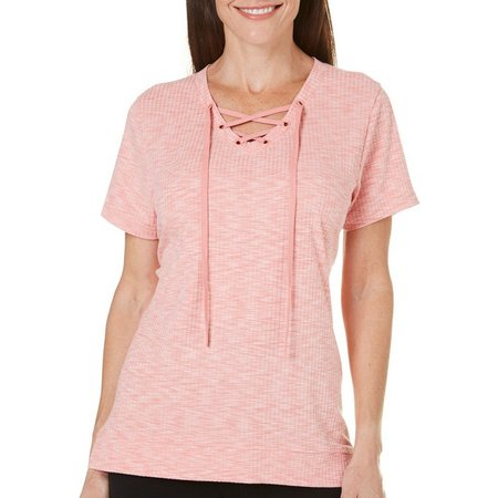 Coral Bay Womens Ribbed Lace Up V-Neck Top