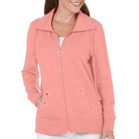 Coral Bay Womens Solid Grommet Jacket