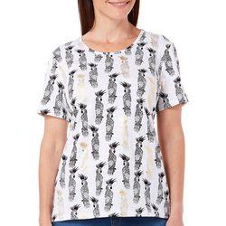 Coral Bay Womens Escape Parrot Foil Print Top