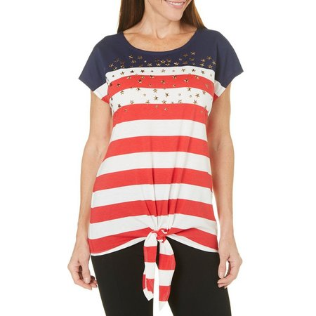 Coral Bay Womens Americana Tie Front Top