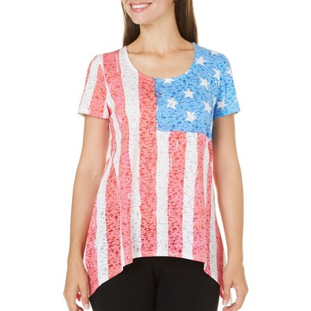 New! Coral Bay Womens Flag Burnout Sharkbite Top